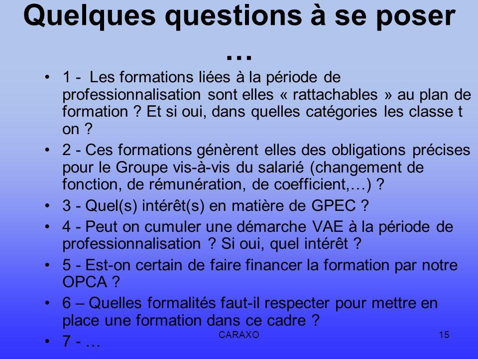 CARAXO15 Quelques questions à se poser … 1 - Les formations liées à la période de professionnalisation sont elles « rattachables » au plan de formatio