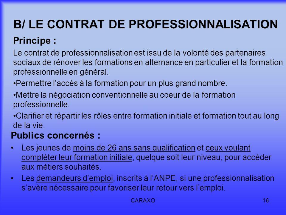 CARAXO16 B/ LE CONTRAT DE PROFESSIONNALISATION Principe : Le contrat de professionnalisation est issu de la volonté des partenaires sociaux de rénover