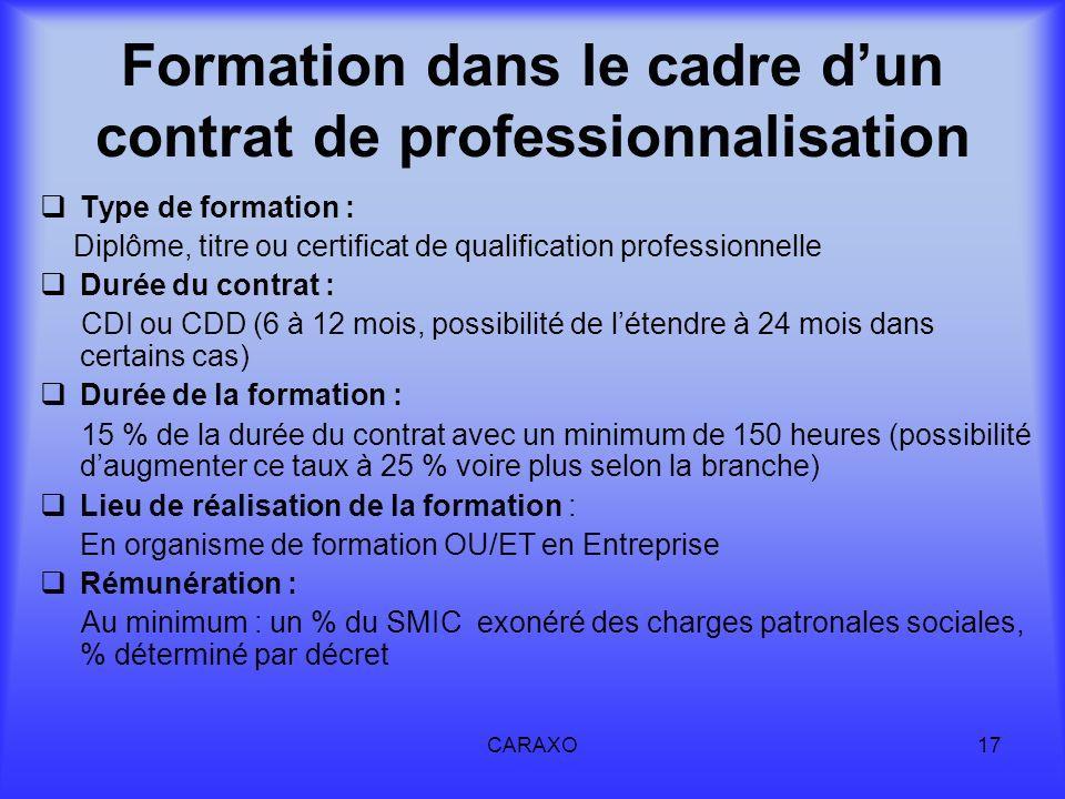 CARAXO17 Formation dans le cadre dun contrat de professionnalisation Type de formation : Diplôme, titre ou certificat de qualification professionnelle