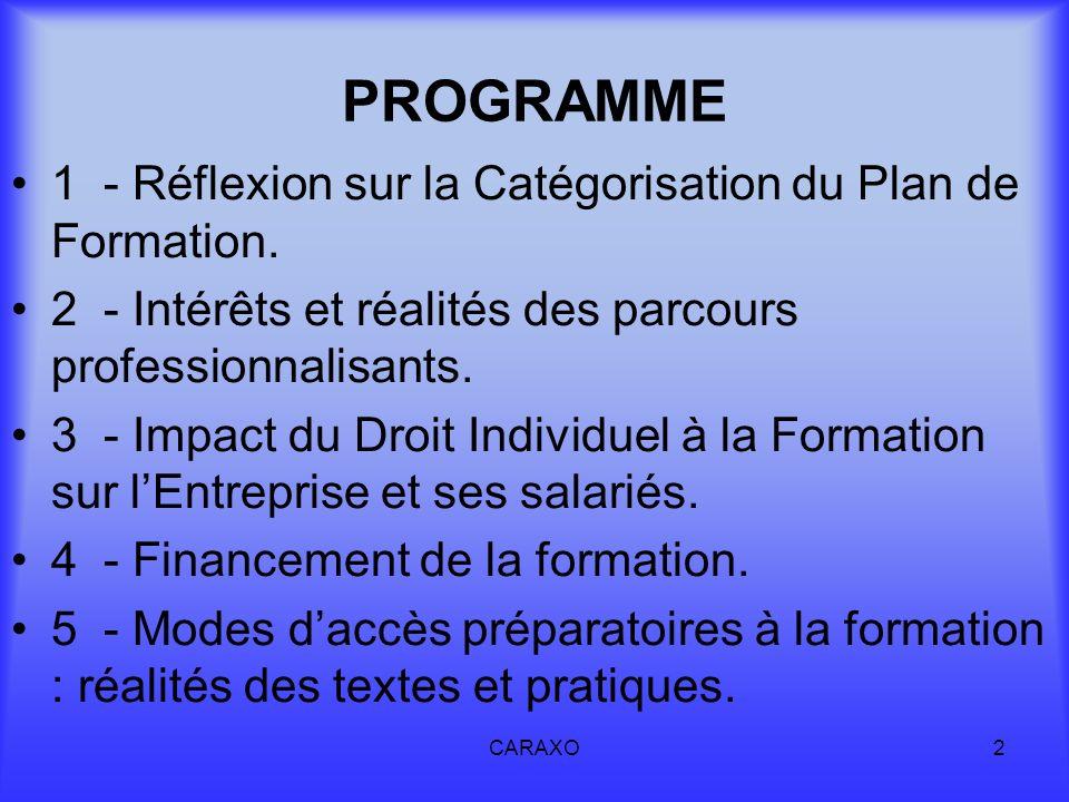CARAXO2 PROGRAMME 1 - Réflexion sur la Catégorisation du Plan de Formation. 2 - Intérêts et réalités des parcours professionnalisants. 3 - Impact du D