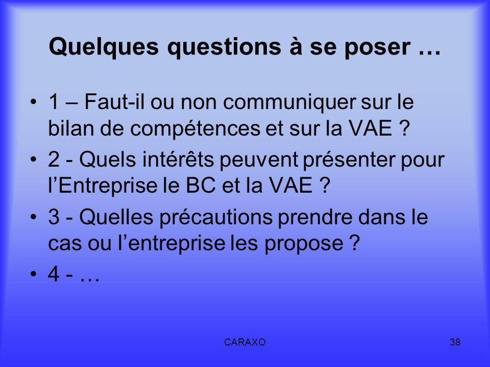 CARAXO38 Quelques questions à se poser … 1 – Faut-il ou non communiquer sur le bilan de compétences et sur la VAE ? 2 - Quels intérêts peuvent présent