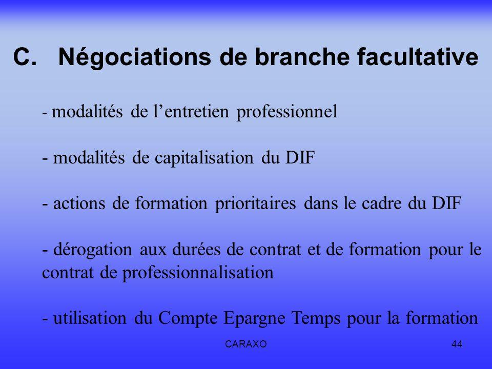 CARAXO44 C.Négociations de branche facultative - modalités de lentretien professionnel - modalités de capitalisation du DIF - actions de formation pri
