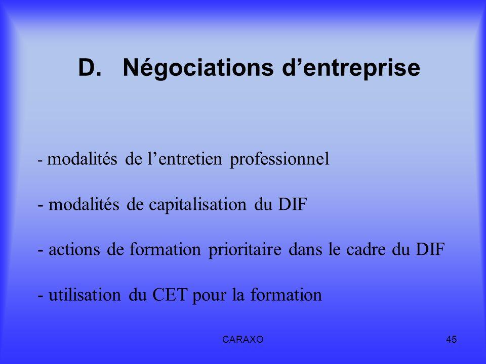 CARAXO45 D.Négociations dentreprise - modalités de lentretien professionnel - modalités de capitalisation du DIF - actions de formation prioritaire da