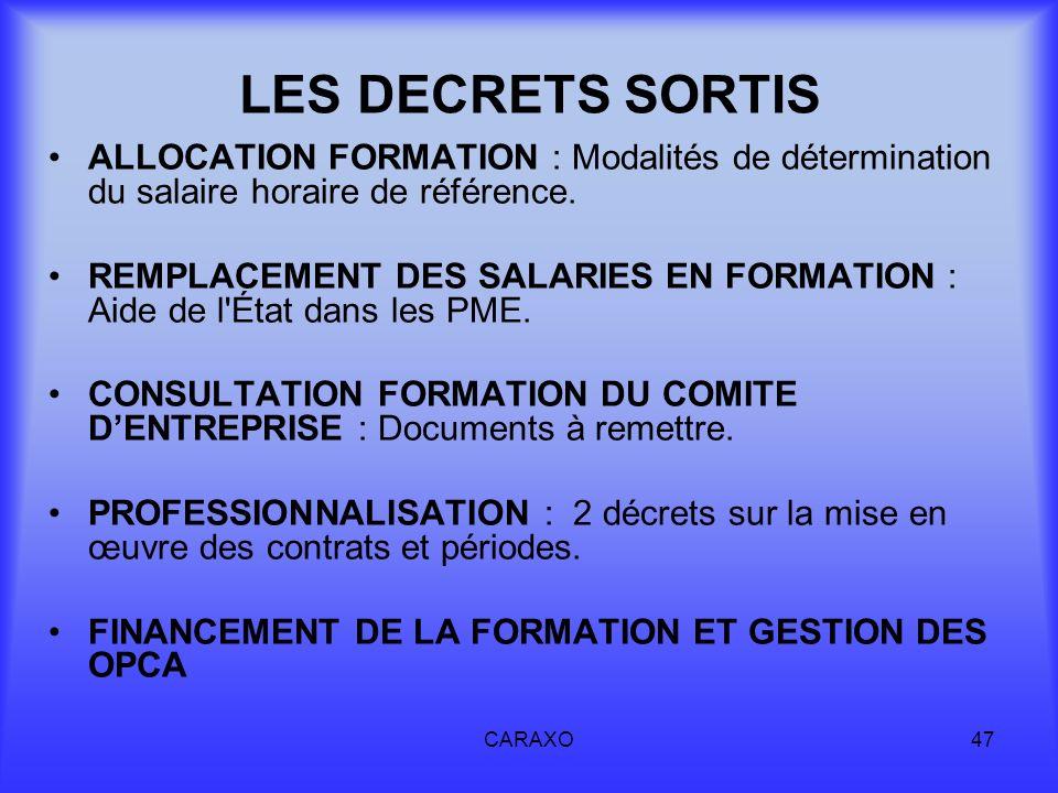 CARAXO47 LES DECRETS SORTIS ALLOCATION FORMATION : Modalités de détermination du salaire horaire de référence. REMPLACEMENT DES SALARIES EN FORMATION