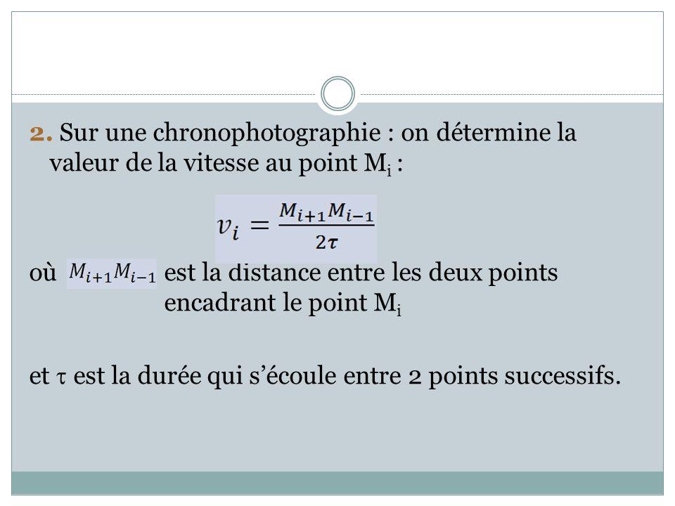 2. Sur une chronophotographie : on détermine la valeur de la vitesse au point M i : où est la distance entre les deux points encadrant le point M i et