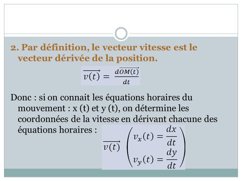 2. Par définition, le vecteur vitesse est le vecteur dérivée de la position. Donc : si on connait les équations horaires du mouvement : x (t) et y (t)