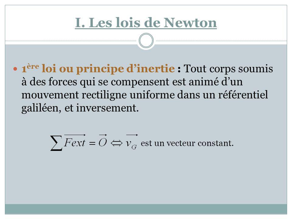 I. Les lois de Newton 1 ère loi ou principe dinertie : Tout corps soumis à des forces qui se compensent est animé dun mouvement rectiligne uniforme da