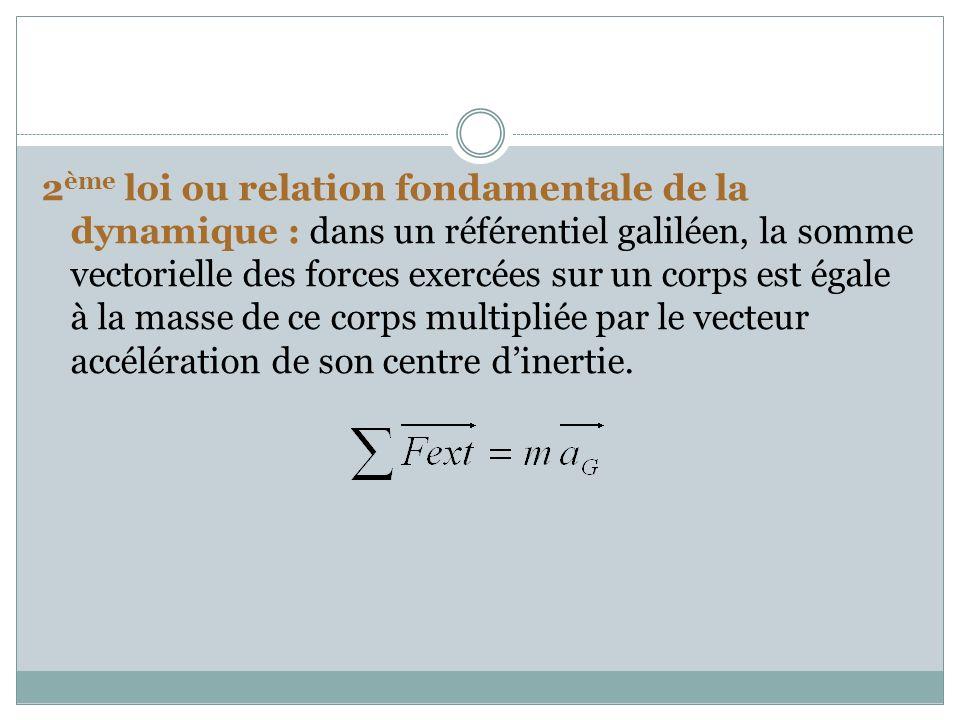 2 ème loi ou relation fondamentale de la dynamique : dans un référentiel galiléen, la somme vectorielle des forces exercées sur un corps est égale à l