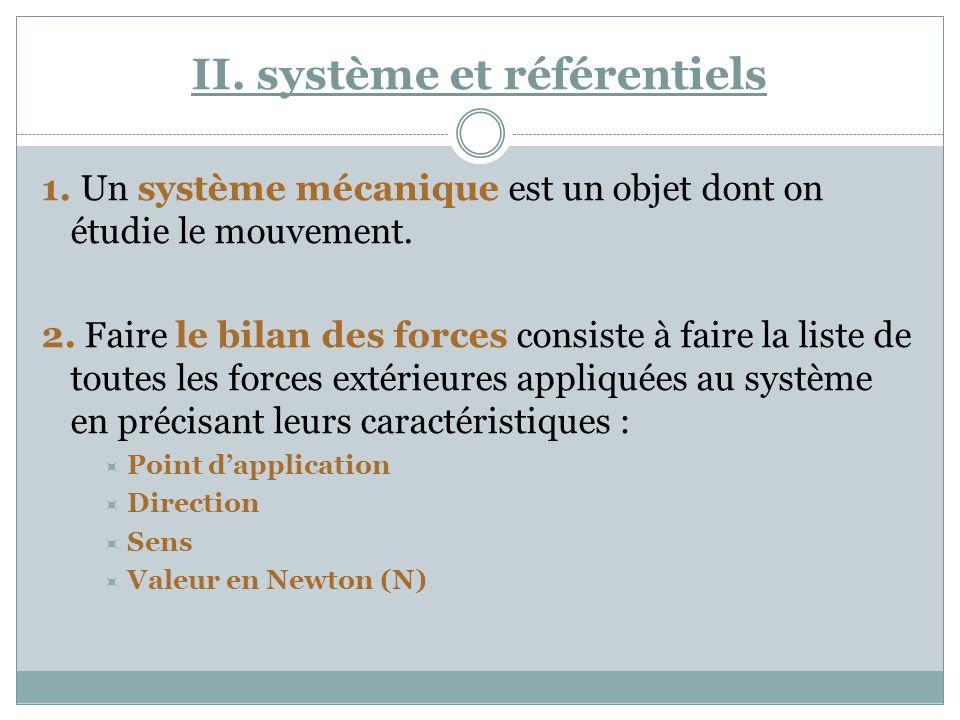 II. système et référentiels 1. Un système mécanique est un objet dont on étudie le mouvement. 2. Faire le bilan des forces consiste à faire la liste d