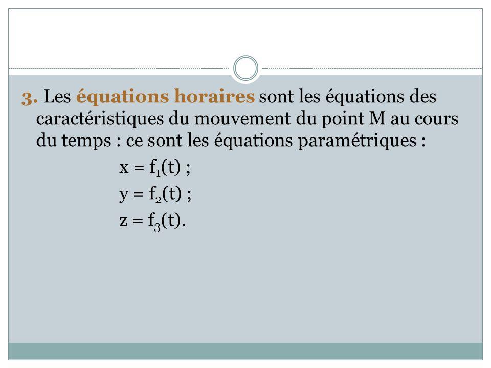3. Les équations horaires sont les équations des caractéristiques du mouvement du point M au cours du temps : ce sont les équations paramétriques : x