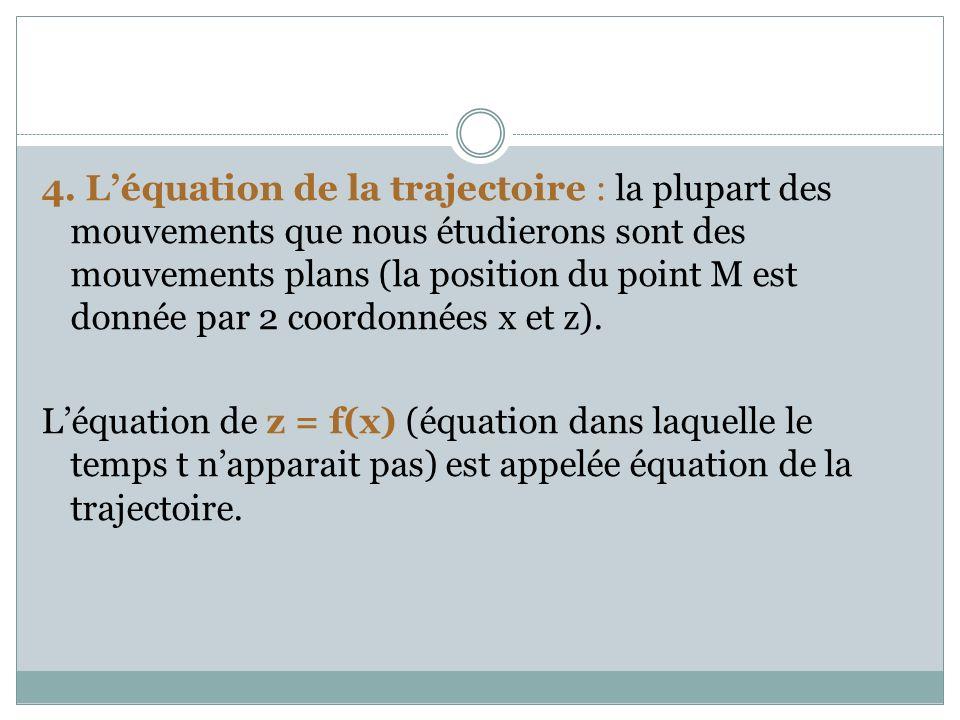 4. Léquation de la trajectoire : la plupart des mouvements que nous étudierons sont des mouvements plans (la position du point M est donnée par 2 coor