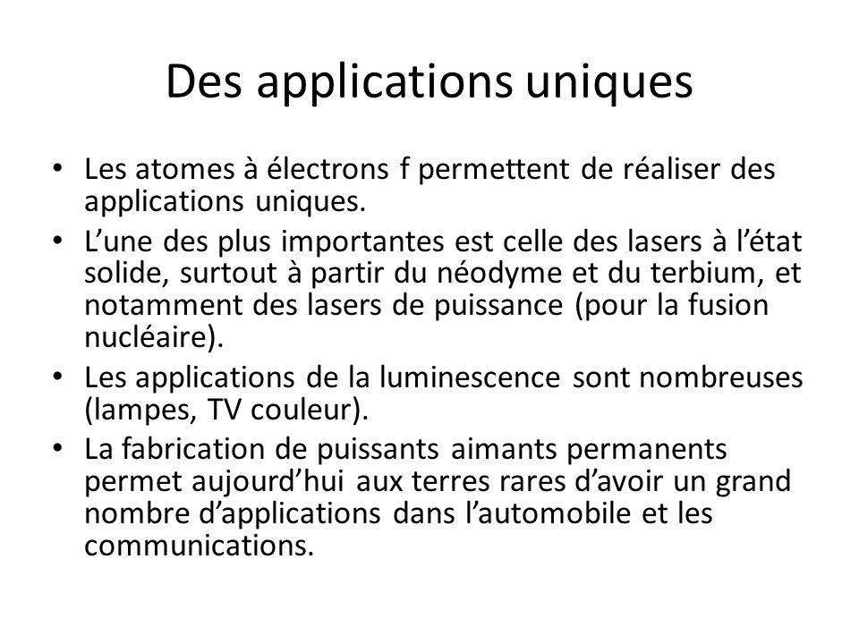 Des applications uniques Les atomes à électrons f permettent de réaliser des applications uniques. Lune des plus importantes est celle des lasers à lé