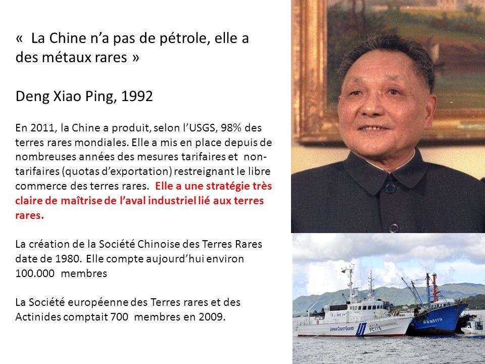 « La Chine na pas de pétrole, elle a des métaux rares » Deng Xiao Ping, 1992 En 2011, la Chine a produit, selon lUSGS, 98% des terres rares mondiales.