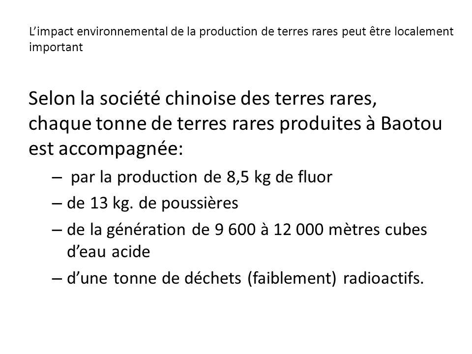 Limpact environnemental de la production de terres rares peut être localement important Selon la société chinoise des terres rares, chaque tonne de te