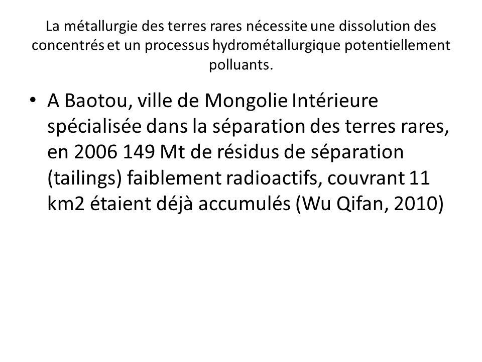 La métallurgie des terres rares nécessite une dissolution des concentrés et un processus hydrométallurgique potentiellement polluants. A Baotou, ville