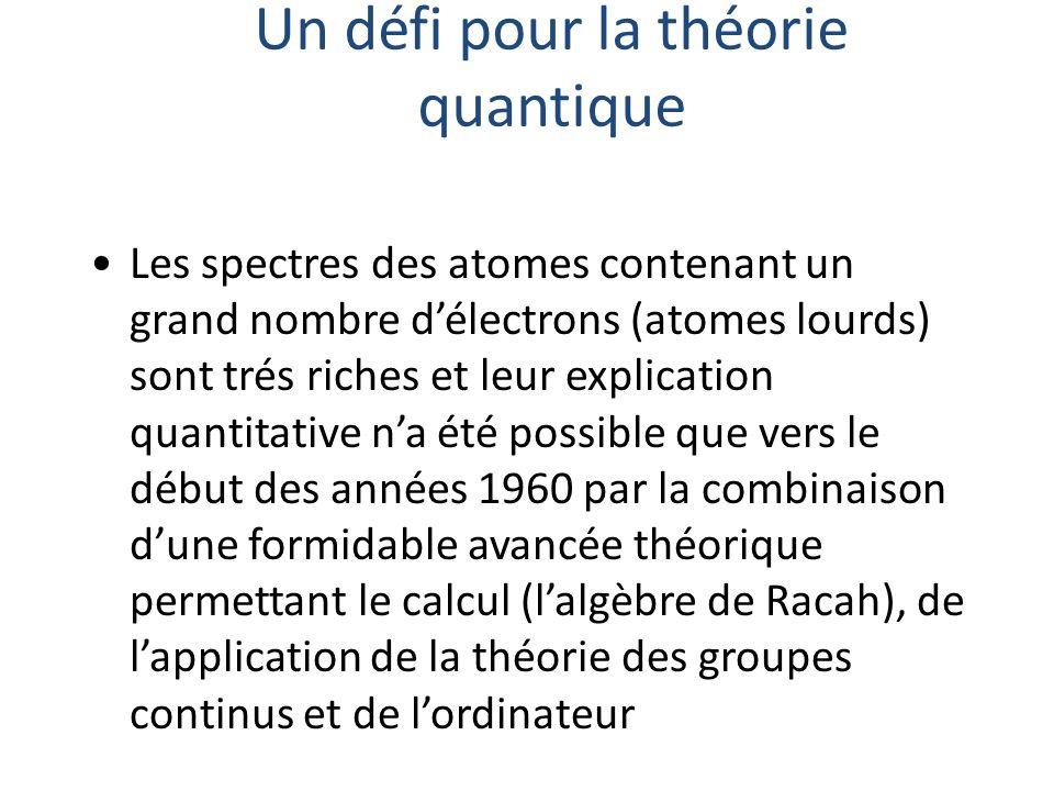 Un défi pour la théorie quantique Les spectres des atomes contenant un grand nombre délectrons (atomes lourds) sont trés riches et leur explication qu