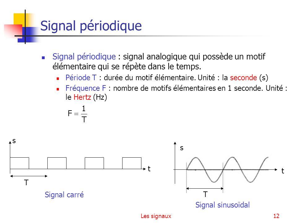 Les signaux12 Signal périodique Signal périodique : signal analogique qui possède un motif élémentaire qui se répète dans le temps. Période T : durée