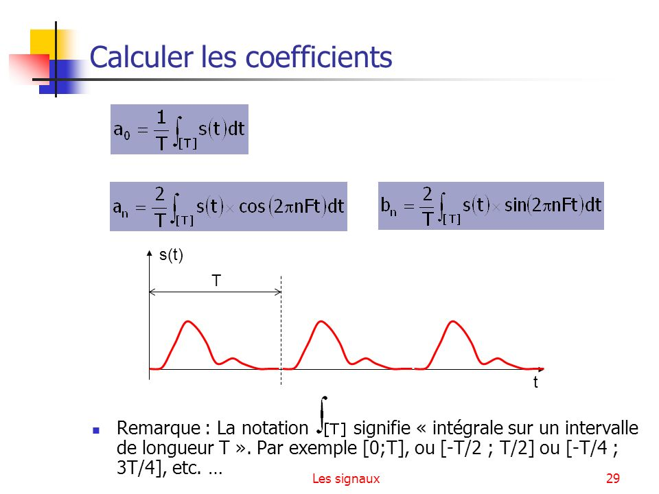 Les signaux29 Calculer les coefficients Remarque : La notation signifie « intégrale sur un intervalle de longueur T ». Par exemple [0;T], ou [-T/2 ; T