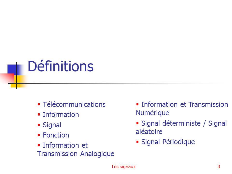 Les signaux3 Définitions Télécommunications Information Signal Fonction Information et Transmission Analogique Information et Transmission Numérique S