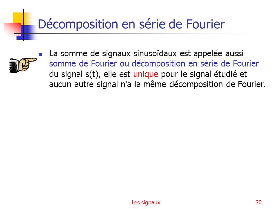 Les signaux30 Décomposition en série de Fourier La somme de signaux sinusoïdaux est appelée aussi somme de Fourier ou décomposition en série de Fourie