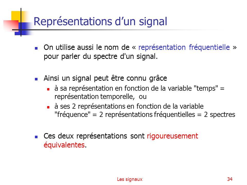 Les signaux34 Représentations dun signal On utilise aussi le nom de « représentation fréquentielle » pour parler du spectre d'un signal. Ainsi un sign
