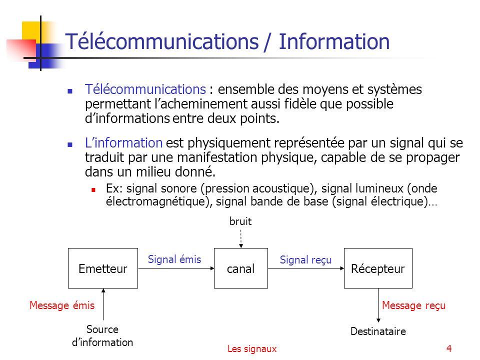 Les signaux4 Télécommunications / Information Télécommunications : ensemble des moyens et systèmes permettant lacheminement aussi fidèle que possible