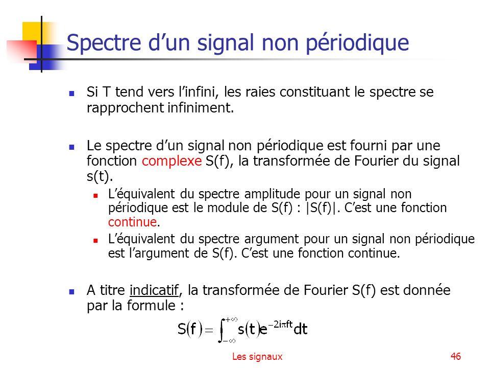 Les signaux46 Spectre dun signal non périodique Si T tend vers linfini, les raies constituant le spectre se rapprochent infiniment. Le spectre dun sig