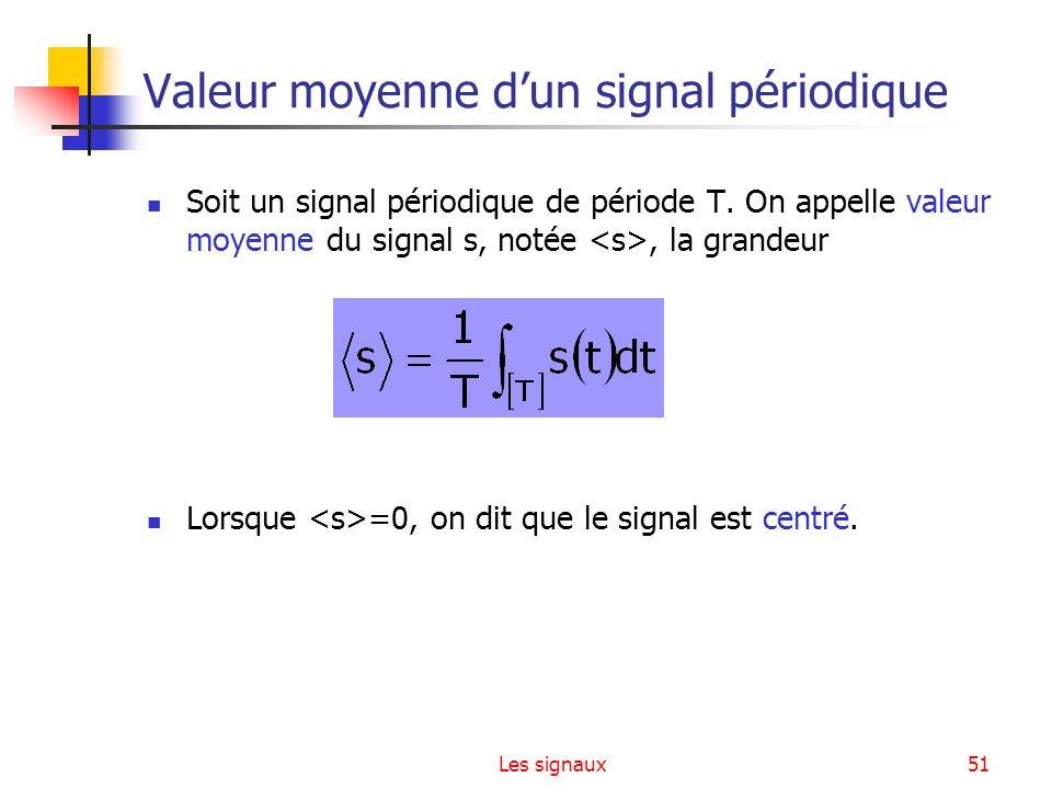 Les signaux51 Valeur moyenne dun signal périodique Soit un signal périodique de période T. On appelle valeur moyenne du signal s, notée, la grandeur L