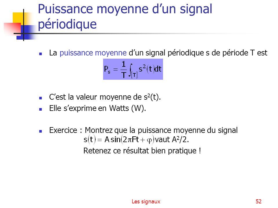 Les signaux52 Puissance moyenne dun signal périodique La puissance moyenne dun signal périodique s de période T est Cest la valeur moyenne de s 2 (t).