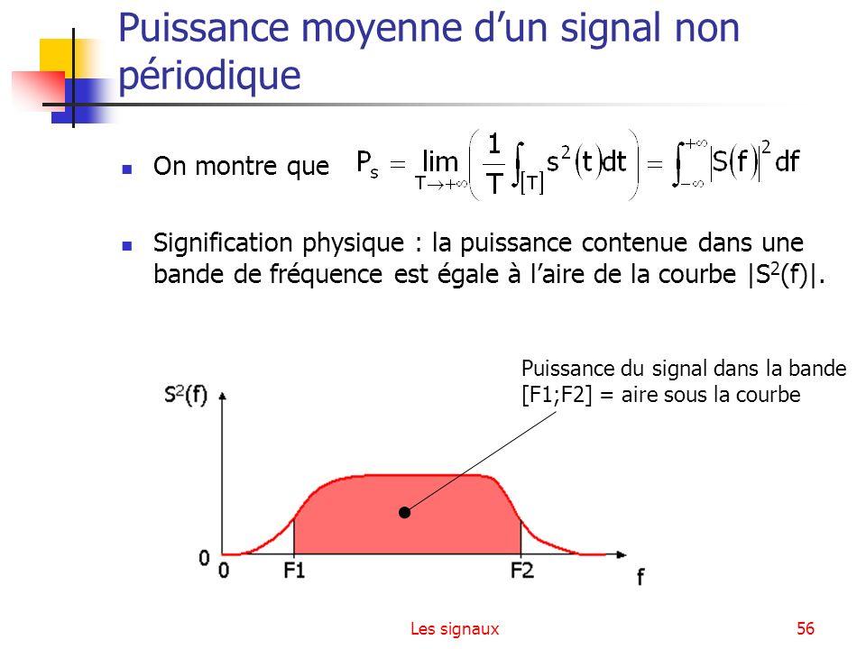Les signaux56 Puissance moyenne dun signal non périodique On montre que Signification physique : la puissance contenue dans une bande de fréquence est