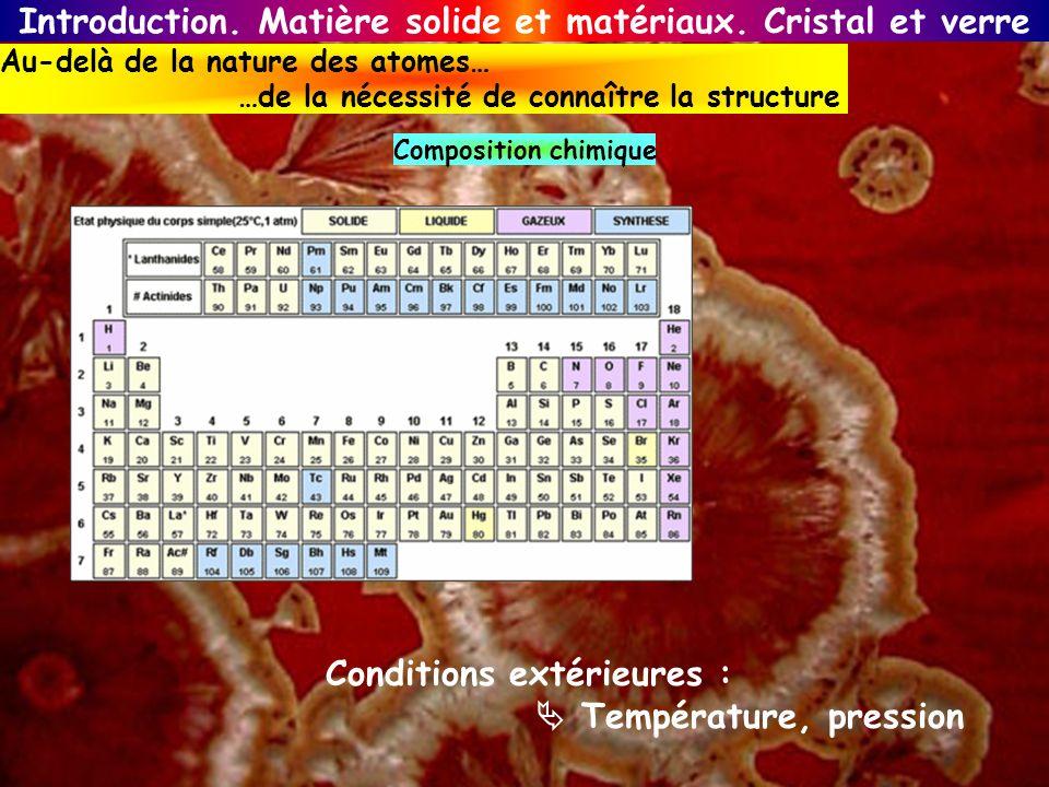 Introduction. Matière solide et matériaux. Cristal et verre Au-delà de la nature des atomes… …de la nécessité de connaître la structure Composition ch