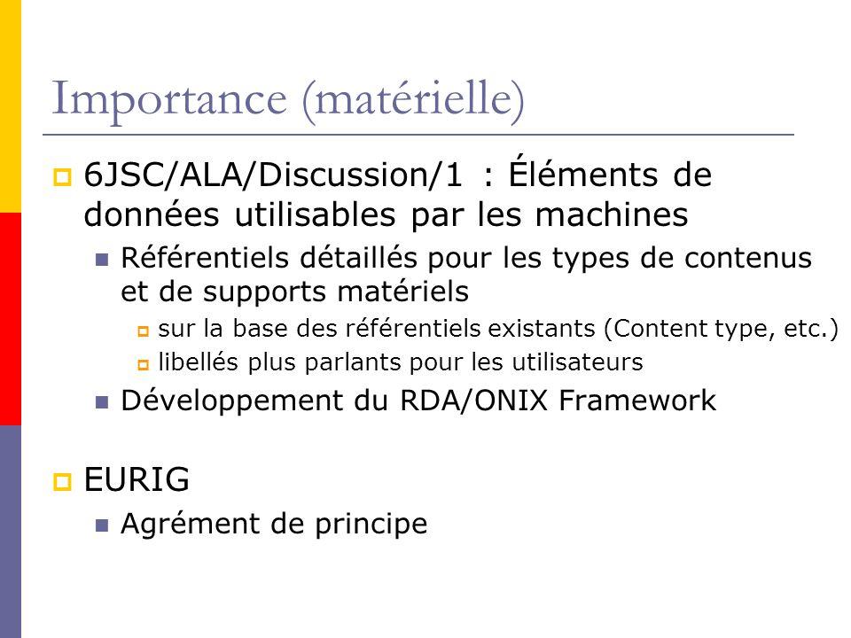 Importance (matérielle) 6JSC/ALA/Discussion/1 : Éléments de données utilisables par les machines Référentiels détaillés pour les types de contenus et de supports matériels sur la base des référentiels existants (Content type, etc.) libellés plus parlants pour les utilisateurs Développement du RDA/ONIX Framework EURIG Agrément de principe
