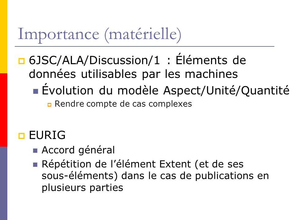 Importance (matérielle) 6JSC/ALA/Discussion/1 : Éléments de données utilisables par les machines Évolution du modèle Aspect/Unité/Quantité Rendre compte de cas complexes EURIG Accord général Répétition de lélément Extent (et de ses sous-éléments) dans le cas de publications en plusieurs parties