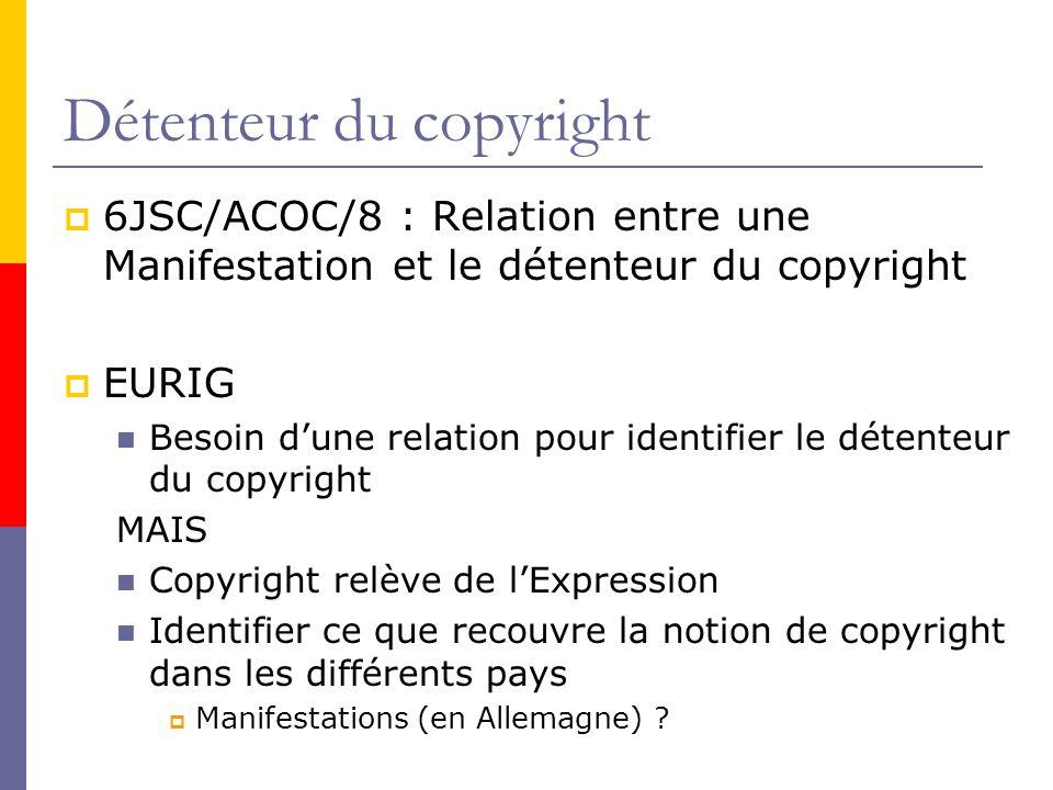 Détenteur du copyright 6JSC/ACOC/8 : Relation entre une Manifestation et le détenteur du copyright EURIG Besoin dune relation pour identifier le détenteur du copyright MAIS Copyright relève de lExpression Identifier ce que recouvre la notion de copyright dans les différents pays Manifestations (en Allemagne) ?