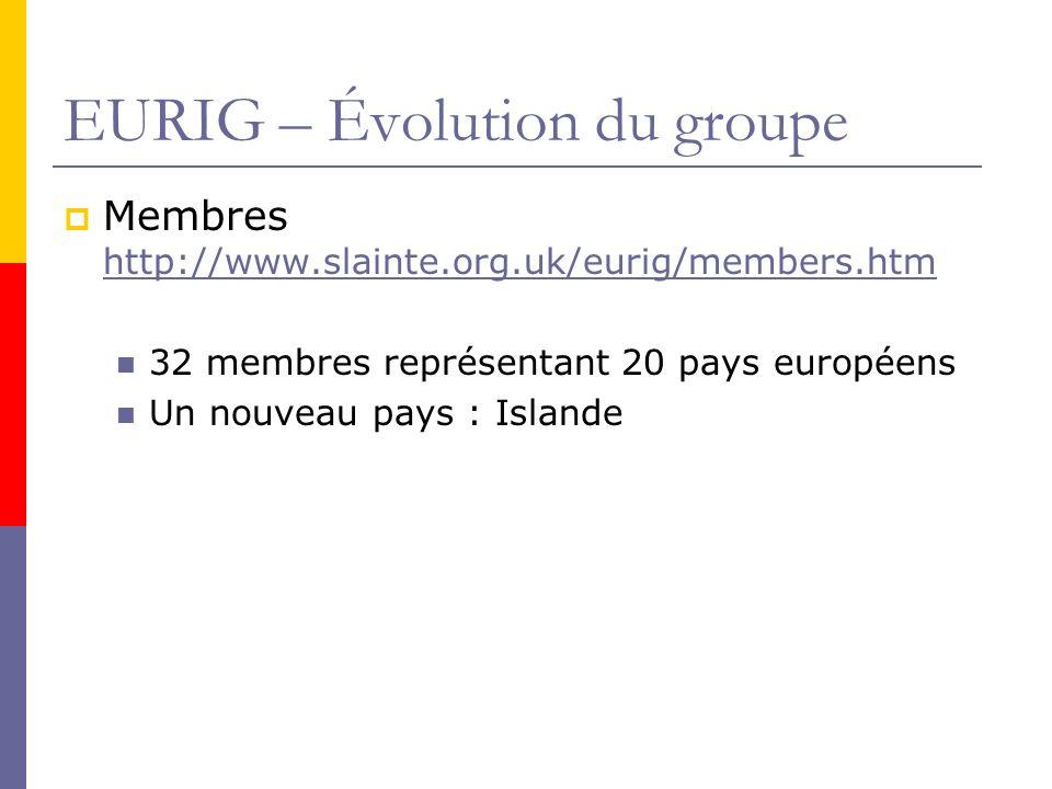 EURIG – Évolution du groupe Membres http://www.slainte.org.uk/eurig/members.htm http://www.slainte.org.uk/eurig/members.htm 32 membres représentant 20 pays européens Un nouveau pays : Islande
