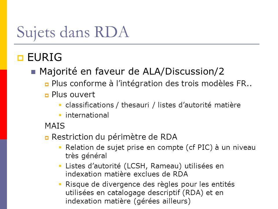 Sujets dans RDA EURIG Majorité en faveur de ALA/Discussion/2 Plus conforme à lintégration des trois modèles FR..