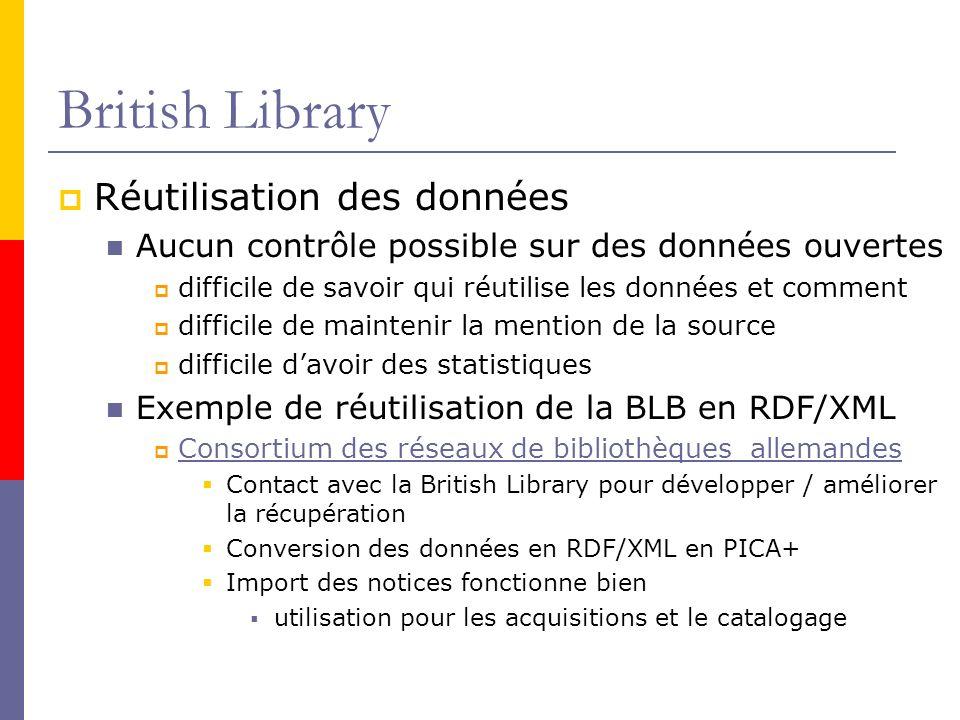 British Library Réutilisation des données Aucun contrôle possible sur des données ouvertes difficile de savoir qui réutilise les données et comment difficile de maintenir la mention de la source difficile davoir des statistiques Exemple de réutilisation de la BLB en RDF/XML Consortium des réseaux de bibliothèques allemandes Contact avec la British Library pour développer / améliorer la récupération Conversion des données en RDF/XML en PICA+ Import des notices fonctionne bien utilisation pour les acquisitions et le catalogage