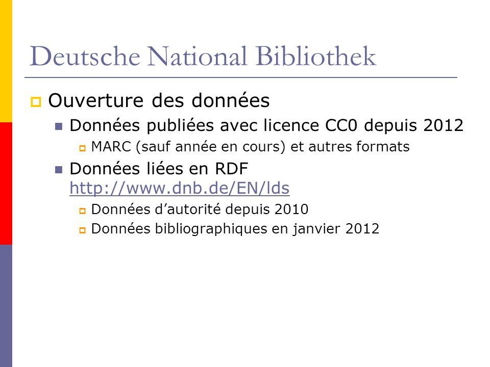 Deutsche National Bibliothek Ouverture des données Données publiées avec licence CC0 depuis 2012 MARC (sauf année en cours) et autres formats Données liées en RDF http://www.dnb.de/EN/lds http://www.dnb.de/EN/lds Données dautorité depuis 2010 Données bibliographiques en janvier 2012