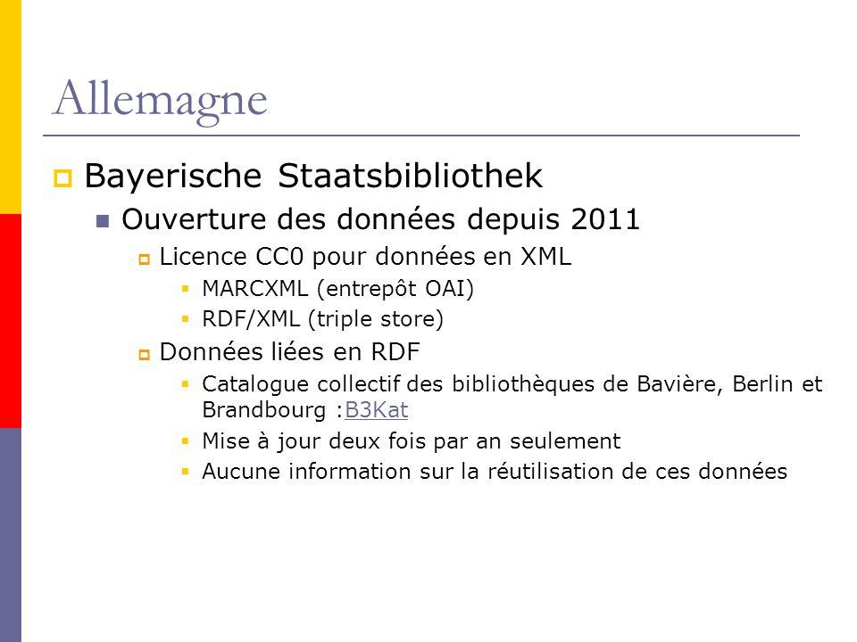 Allemagne Bayerische Staatsbibliothek Ouverture des données depuis 2011 Licence CC0 pour données en XML MARCXML (entrepôt OAI) RDF/XML (triple store) Données liées en RDF Catalogue collectif des bibliothèques de Bavière, Berlin et Brandbourg :B3KatB3Kat Mise à jour deux fois par an seulement Aucune information sur la réutilisation de ces données