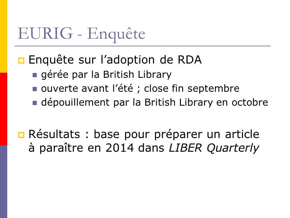 EURIG - Enquête Enquête sur ladoption de RDA gérée par la British Library ouverte avant lété ; close fin septembre dépouillement par la British Library en octobre Résultats : base pour préparer un article à paraître en 2014 dans LIBER Quarterly