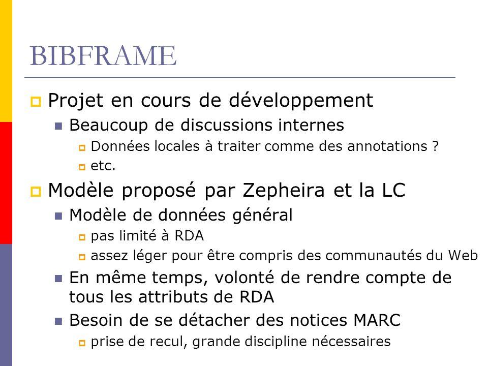 BIBFRAME Projet en cours de développement Beaucoup de discussions internes Données locales à traiter comme des annotations .