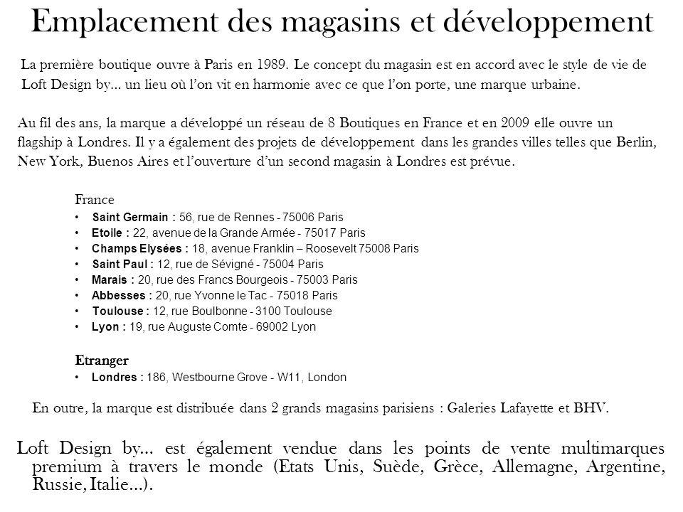 Emplacement des magasins et développement La première boutique ouvre à Paris en 1989. Le concept du magasin est en accord avec le style de vie de Loft