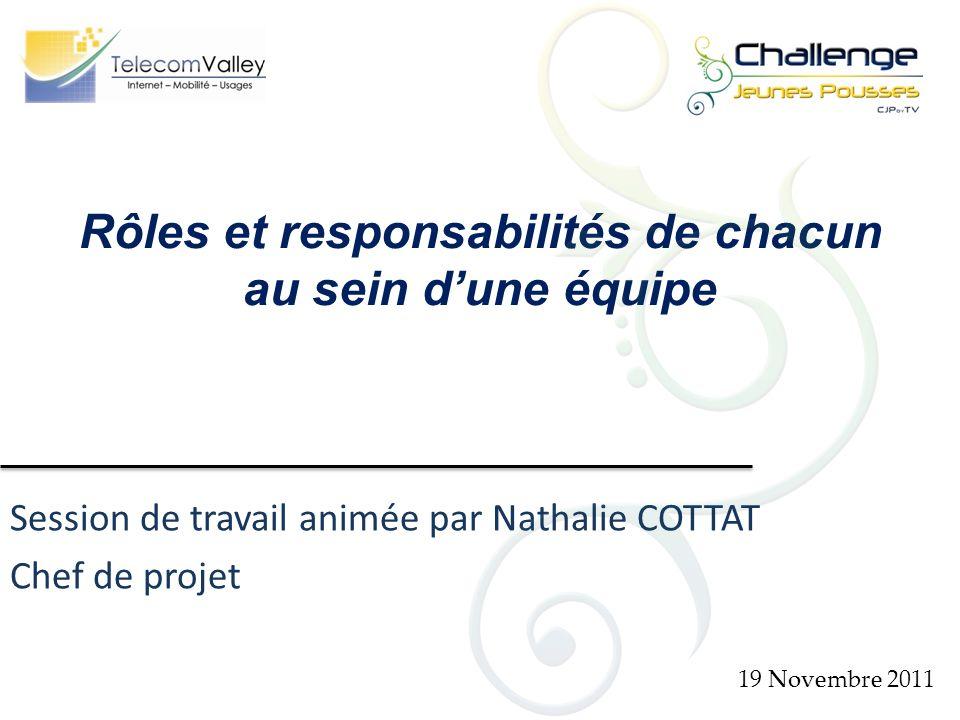 Session de travail animée par Nathalie COTTAT Chef de projet 19 Novembre 2011 Rôles et responsabilités de chacun au sein dune équipe