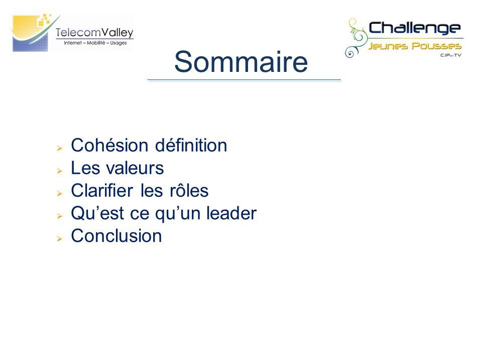 Sommaire Cohésion définition Les valeurs Clarifier les rôles Quest ce quun leader Conclusion