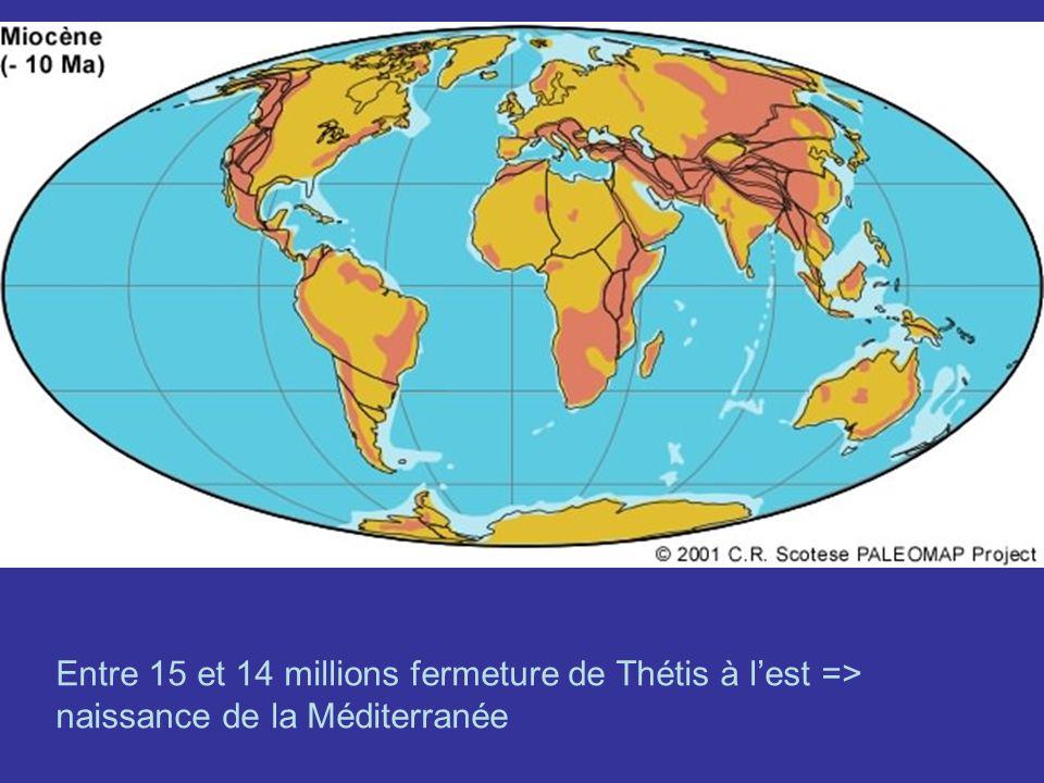 Entre 15 et 14 millions fermeture de Thétis à lest => naissance de la Méditerranée