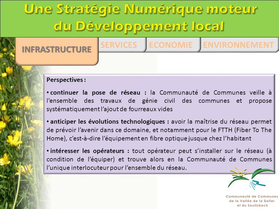 Perspectives : continuer la pose de réseau : la Communauté de Communes veille à lensemble des travaux de génie civil des communes et propose systémati