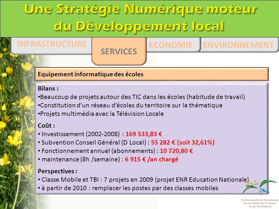 ENVIRONNEMENT ECONOMIE INFRASTRUCTURE SERVICES Bilans : Beaucoup de projets autour des TIC dans les écoles (habitude de travail) Constitution dun réseau décoles du territoire sur la thématique Projets multimédia avec la Télévision Locale Coût : Investissement (2002-2008) : 169 533,83 Subvention Conseil Général (D Local) : 55 282 (soit 32,61%) Fonctionnement annuel (abonnements) : 10 720,80 maintenance (8h /semaine) : 6 915 /an chargé Perspectives : Classe Mobile et TBI : 7 projets en 2009 (projet ENR Education Nationale) à partir de 2010 : remplacer les postes par des classes mobiles Equipement informatique des écoles