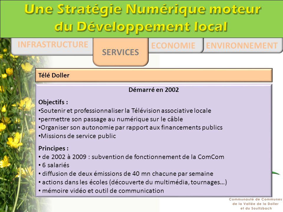 ENVIRONNEMENT ECONOMIE INFRASTRUCTURE SERVICES Démarré en 2002 Objectifs : Soutenir et professionnaliser la Télévision associative locale permettre so