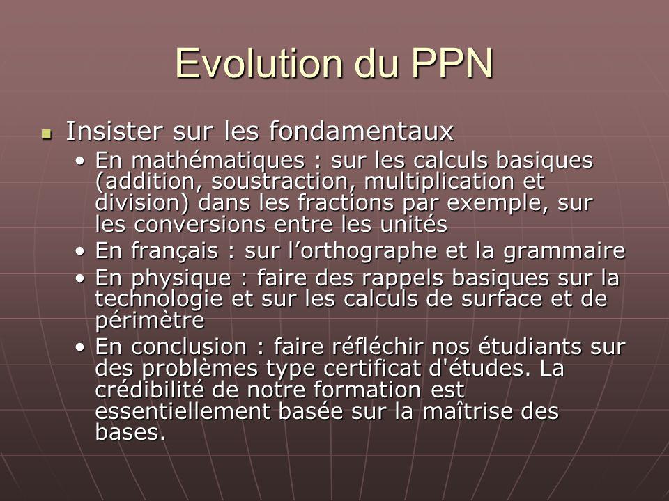 Evolution du PPN Insister sur les fondamentaux Insister sur les fondamentaux En mathématiques : sur les calculs basiques (addition, soustraction, mult