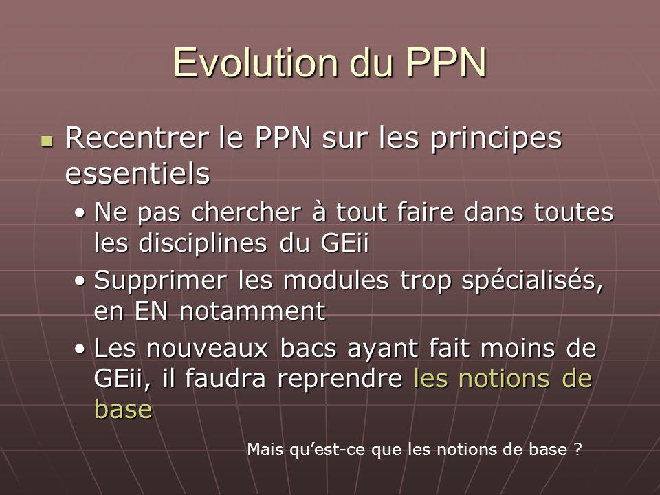 Evolution du PPN Recentrer le PPN sur les principes essentiels Recentrer le PPN sur les principes essentiels Ne pas chercher à tout faire dans toutes